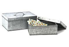 S/2 Galvanized Tin Boxes w/ Lid on OneKingsLane.com