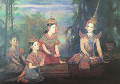 """""""Phra Sangthong casting off his disguise"""", 1998, oil on canvas, by Chakrabhand Posayakrit, a Thai national artist"""