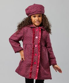Take a look at this Pink Tweed Wool-Blend Ruffle Coat - Girls by Penelope Mack on #zulily today!