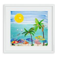 Artwork at Maine Cottage | Beach Umbrellas by Liz Lind #coastalart