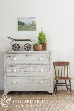 Miss Mustard Seed's Milk Paint is a great paint choice if you want your piece to have an aged, chippy look