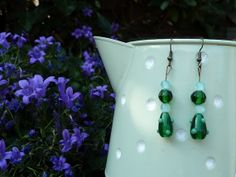 Bottle Green & Mint Bead Dangle Earrings by Sleepycraftygirl, £3.00