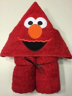"Red Furry Monster Applique Hooded Bath Beach Towel 30"" x 54"" by MommysCraftCreations on Etsy"