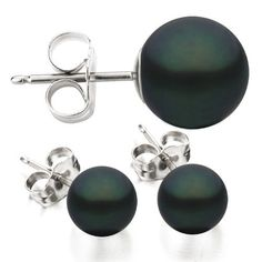 Sterling Silver 7-7.5mm Black Akoya Saltwater Cultured Pearl Stud Earrings AAA Quality Unique Pearl. $23.95