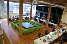 creative office spaces - Google Search. The middle space could be configured for a big meeting or many small ones.