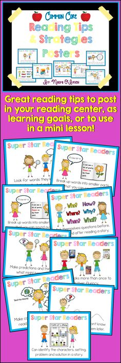 This set of posters was created to help teachers teach these important reading tips and strategies to their K, 1st, and 2nd grade students. These posters will be a great reference to use at your small group center, on a bulletin board, or to post near your classroom library. Teachers should refer to these posters often when modeling good reading to show their students which reading tip/strategy they are using.  16 posters in all plus a title page for a bulletin board. 8½ x 11 in.