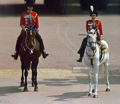 Queen Elizabeth II and Prince Philip at the Trooping the Colour ceremony in London, circa 1960.