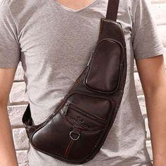 [Visit to Buy] Men Fashion Vintage Genuine Leather Travel Riding Motorcycle Messenger Sling Pack Chest Bag #Advertisement