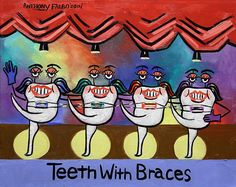 Teeth With Braces Dental Art Print Dentist Collectable by falboart