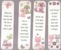 4 Plaid Cats, Dogs, And Butterfly Friendship Bookmarks Auction 1