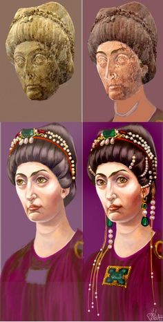 Ah, Theodora: the notorious nude Hippodrome performer who got religion, became Empress, quashed child prostitution, invented tiaras and pointed shoes, and quelled riots with equal aplomb. Here's Theodora painted into life from an ancient bronze statue now in Milan, using information from the Ravenna mosaic and contemporary descriptions. by Trici Venola.