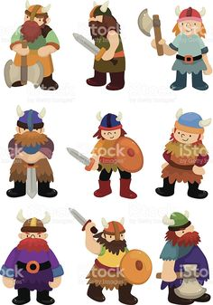 cartoon Viking Pirate icon set royalty-free stock vector art