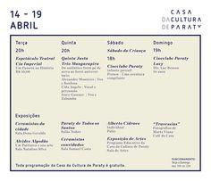 Confira a programação de eventos da Casa da Cultura para a semana de 14 a 19 de abril.  #CasaDaCultura #CasaDaCulturaParaty #exposição #arte #fotografia #música #cultura #turismo #Paraty #PousadadoCareca