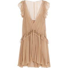 Chloé Ruffled silk-chiffon mini dress found on Polyvore featuring dresses, pink, embellished dresses, ruffle slip, pink mini dress, beige short dress and mini dress