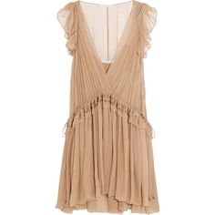 Chloé Ruffled silk-chiffon mini dress ($3,995) ❤ liked on Polyvore featuring dresses, vestidos, pink, ruffle mini dress, shimmer dress, embellished mini dress, chloe dress and beige short dress
