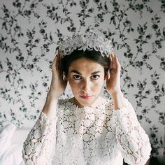 Marta in a dress by Laure de Sagazan / Flor de Asoka Tocado Suma Cruz Makeup…