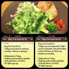 Day 3 & 4 of Just Do It. Clean eating dinner, brown rice, chicken, broccoli.