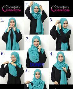 eazy and simple hijab like it How To Wear Hijab, Hijab Wear, Hijab Outfit, Turban Hijab, Arab Fashion, Islamic Fashion, Muslim Fashion, Simple Hijab Tutorial, Hijab Style Tutorial