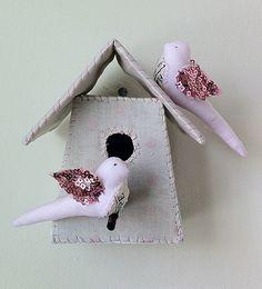 Birdhouse with beaded birds
