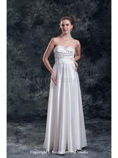 Satin Sweetheart Neckline Floor Length Column Beading Wedding Dress