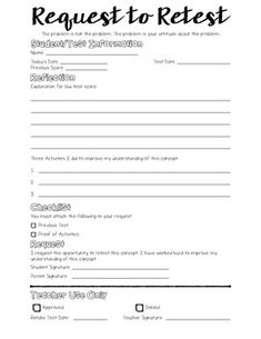 Form For Student To Fill Out To Request A Test Retake  High