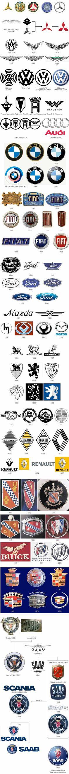 Evolución de #logos de marcas de #coches. http://jrstudioweb.com/diseno-grafico/diseno-de-logotipos/