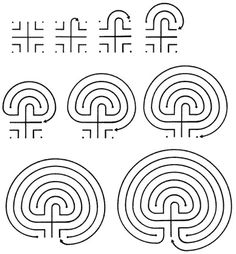 HOW TO DRAW A LABYRINTH  Following is a series of drawings that illustrate the process one may follow to create a labyrinth pattern of their...