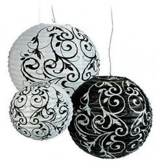 #BUY Paper Black & White Paper Lanterns Set (set of 9) for your #wedding here: http://shop.weddingandweddingflowers.co.uk/index.php?id_product=183&controller=product