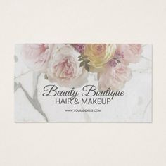 Beauty Boutique Marble Flower Fashion Salon Card - boutique gifts style stylish unique ciy stylist