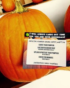 """I will always carve out time for you and your referrals!"" Nothing says fall like a pumpkin Pop-By!"