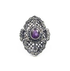 Sterling Amethyst Marcasite Ring Art Deco Style - Sterling Silver, Amethyst Gemstone, Vintage Jewelry, Vintage Ring, Size 6.5 by zephyrvintage on Etsy