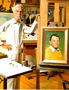 Norman Rockwell standing next to his portrait of Frank Sinatra