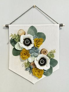 Floral Banner Anemone and Succulents Floral Decor Wall Decor Home Decor Felt Flowers Felt Succulents Wall Hanging Fabric Flowers, Paper Flowers, Felt Flowers Patterns, Hanging Flowers, Floral Flowers, Felt Wall Hanging, Hanging Banner, Felt Succulents, Felt Flower Wreaths
