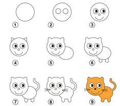 Portfolio d'images et de photos de stock de Kid_Games_Catalog Drawing Lessons For Kids, Easy Drawings For Kids, Drawing Skills, Cat Drawing, Simple Drawings, Drawing Tools, Easy Drawing Steps, Step By Step Drawing, Games For Kids