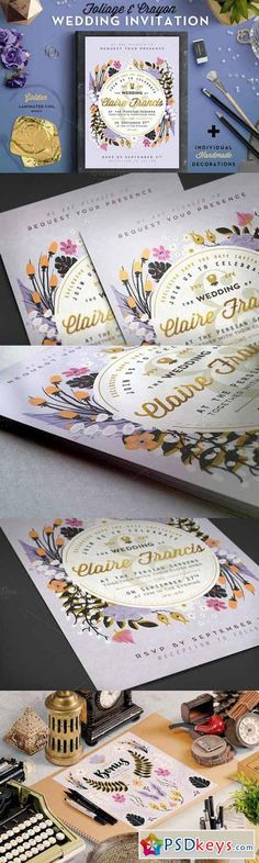 Foil & Crayon Wedding Invite III 604928