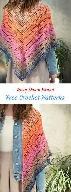 Rosy Dawn Shawl Free Crochet Pattern #crochet #crafts #shawl #fashion #style #idea #homemade #project #design