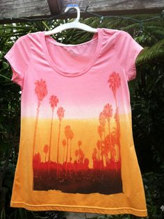 Ladies Large sunset graphic ombre fade tie dye T shirt on Etsy, $15.00