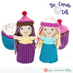 If you happen to be a child of the 90s, like I was, then perhaps this doll will bring back some familiarity. They were a series of dolls with plastic skirts which when turned inside out transformed into edible goodies with their hats becoming the icing. They were also scented. I thought wouldn't they be cute and fun in crochet, too!