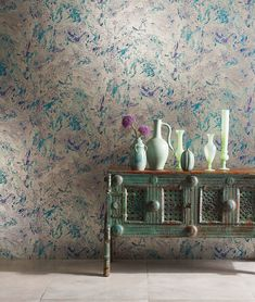 Makrana by Matthew Williamson - Lilac / Turquoise - Wallpaper : Wallpaper Direct Matthew Williamson, Turquoise Wallpaper, Designer Wallpaper, Wallpaper Designs, Wall Treatments, Antique Books, Room Inspiration, Decor Styles, Home Accessories