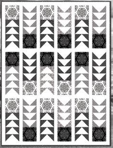 "= free pattern = Monochrome Waves quilt, 62 x 80"", for Benartex fabrics as seen at Quilt Inspiration"