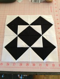 knit n lit: Modern Half-Square Triangle Quilt-a-Long Block 25
