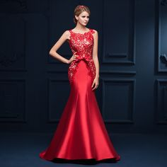 New Arrival 2015 Seductive Red Lace Mermaid Evening Dress Long Formal Gowns Lace Up robe de soiree * To view further for this item, visit the image link.