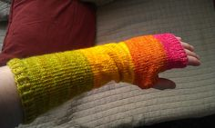 My version of the PurlBee's Colorblock Hand Warmers. A glimpse of summer!