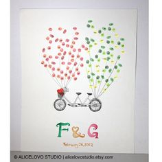 Custom Hand-Drawn Wedding Bicycle Guest Book