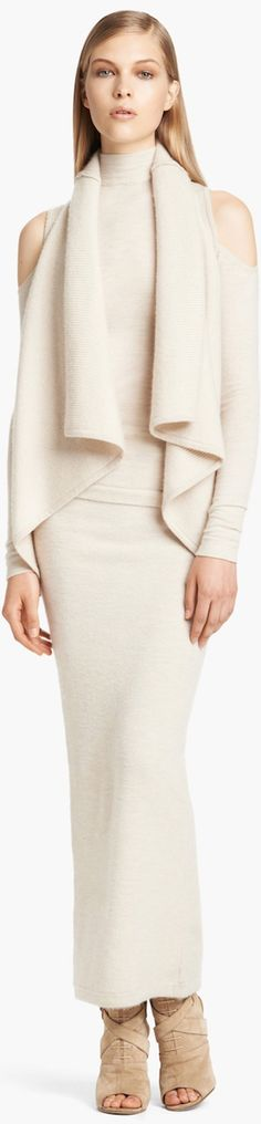 Donna Karan Collection 'First Layer' Cold Shoulder Cashmere Blend Turtleneck