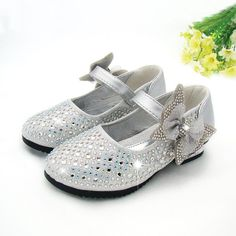 Girls Silver Rhinestone Embellished Formal Shoes