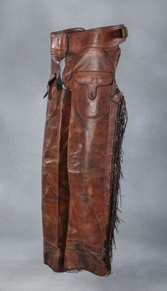 Two Pair of Early Shotgun Chaps - Brian Lebel's Old West Events Cowboy Gear, Cowboy And Cowgirl, Western Outfits, Western Wear, Booth Western Art Museum, Shotgun Chaps, Fort Worth Museum, Riding Gear, Riding Clothes