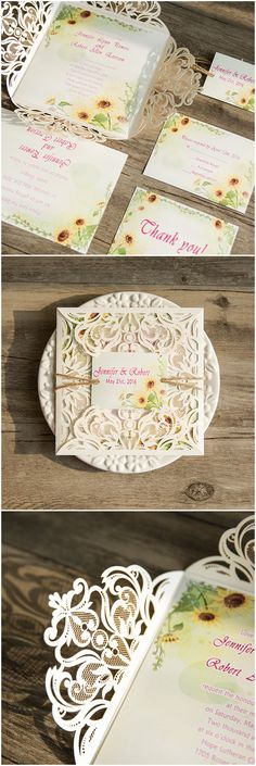 sunflower wedding ideas inspired laser cut wedding invitations-FREE SHIPPING, RSVP CARDS & ENVELOPES