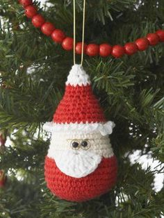 Crocheted Santa ornament from Christmas Crafts, Free Knitting Patterns, Free Crochet Patterns and More from FaveCrafts.com