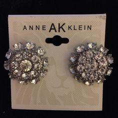 Earrings Anne Klein Earrings. Round Cluster of Rhinestones in Silver Tones Setting. New! Anne Klein Jewelry Earrings